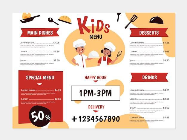 어린이 메뉴. 젊은 요리사와 주방용품, 소년과 소녀는 맛있는 음식을 요리하고, 카페 또는 레스토랑 전단지를 위한 디자인, 메뉴는 건강한 점심 및 저녁 식사 목록 벡터 밝은 간단한 만화 템플릿 디자인을 다룹니다.