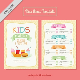 Kids menus with delicious food