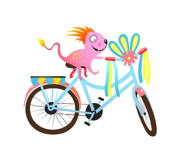 Детский монстр на велосипеде, украшенный парадным или фестивальным клипарт. причудливый характер существа велосипедиста и украшенный велосипед.