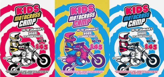 Kids motocross camp poster design summer retro vintage cool color illustration flyer