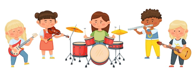 Kids music band, cartoon children playing musical instruments together. child musicians playing on violin, guitar, drums vector illustration