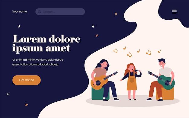 키즈 뮤직 밴드. 마이크를 들고 노래하는 소녀, 기타 플랫 벡터 삽화를 연주하는 십대들. 배너, 웹 사이트 디자인 또는 방문 웹 페이지를 위한 탤런트 쇼, 공연, 학교 콘서트 개념
