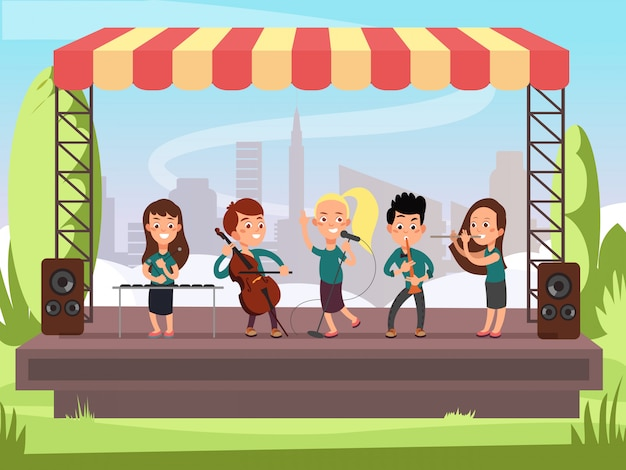 Kids music band playing on stage at outdoor festival vector illustration