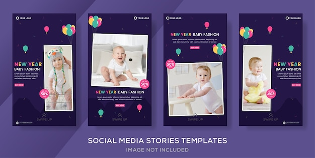 Kids new year sale banner template for social media stories post.