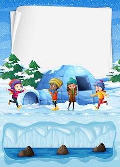 Kids in north pole and igloo