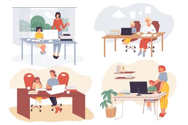 両親と一緒に遠隔学習をしている子供たち