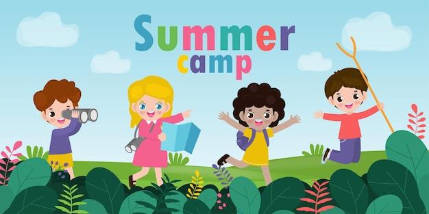 여름 캠프에 아이들