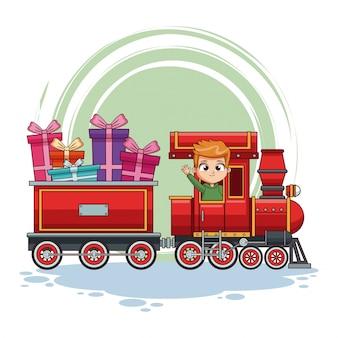 列車の漫画の子供たち