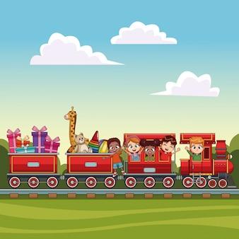 景色の上の電車の子供たち