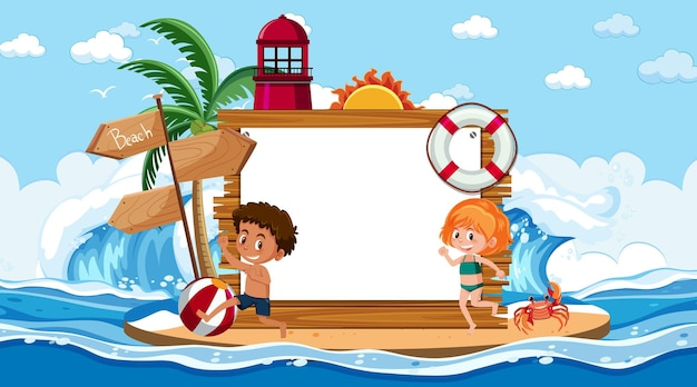空のバナーテンプレートとビーチの昼間のシーンで休暇中の子供たち