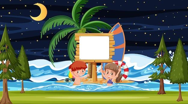 Дети на отдыхе на ночной пляжной сцене с пустым шаблоном баннера