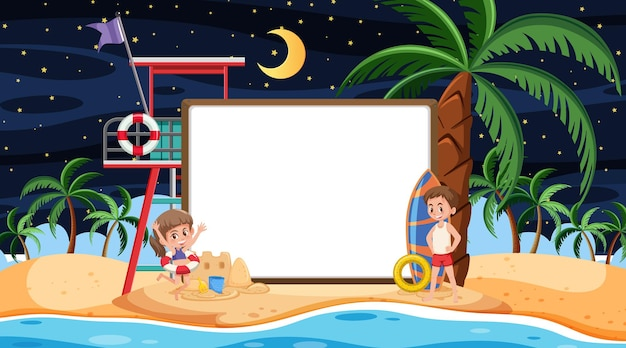 빈 배너 템플릿으로 해변 야경에서 휴가 중인 아이들