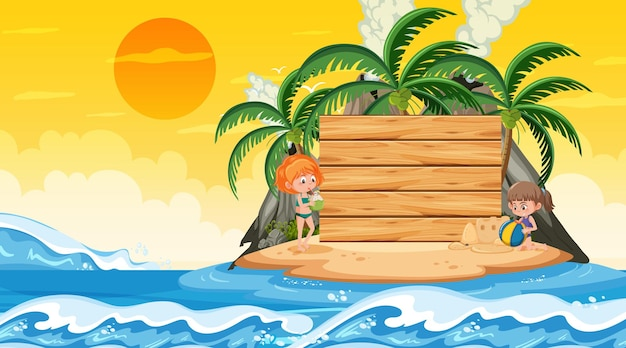 빈 배너 템플릿으로 해변 일몰 장면에서 휴가 중인 아이들