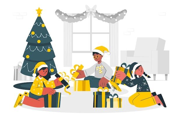 子供たちは彼らのクリスマスプレゼントのコンセプトイラストを開きます