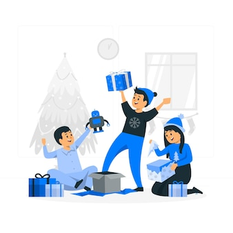 Kids open their christmas gifts concept illustration