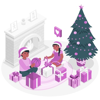 Kids open their christmas giftsconcept illustration