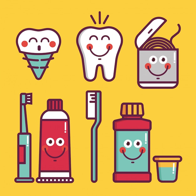 Kids oral care   set. dental hygiene for child - icons brushes, teeth, toothpaste, lotion, floss, water, denture implant