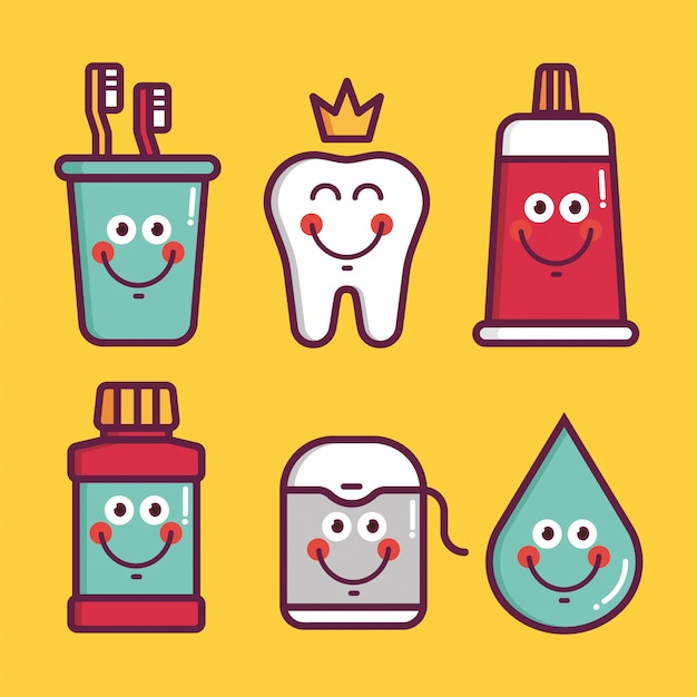 Kids oral care   set. dental hygiene for child - icons glass with brush, king teeth, toothpaste, lotion, floss, water