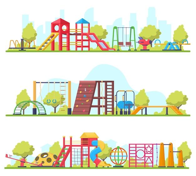 Детский парк развлечений на открытом воздухе или баннеры на детской площадке. качели, слайд и песочница детская площадка оборудование векторные иллюстрации набор. детская площадка для отдыха на свежем воздухе, парковое оборудование