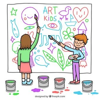 壁画を描く子供