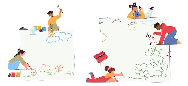 キッズペインティングコンセプト。絵筆や色鉛筆を持った小さな男の子や女の子が紙やアスファルトに絵を描く