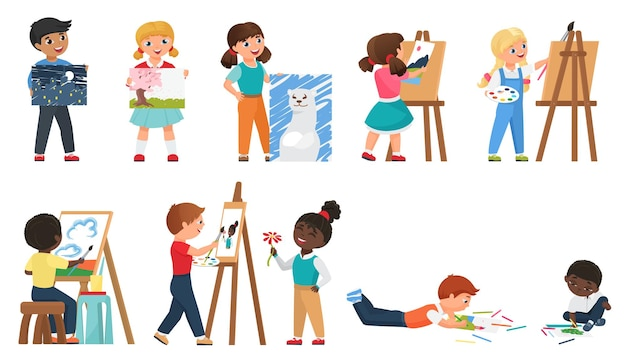 Kids painting set with cartoon young artists drawing art work with painting tool