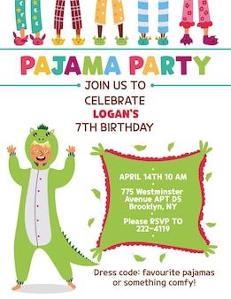 Kids pajama party invitation kigurumi dinosaur