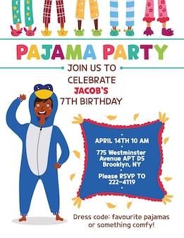 Kids pajama party invitation kigurumi  penguin