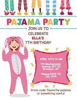 Kids pajama party invitation kigurumi rabbit