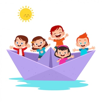 Kids on the paper ship