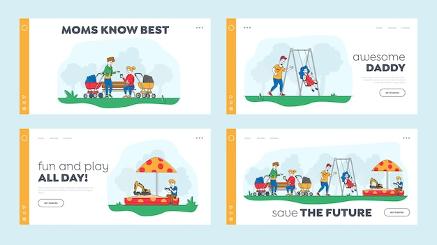 Kids and parents characters on outdoor playground landing page template set