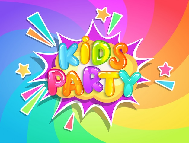 Kids party banner on rainbow background. Premium Vector