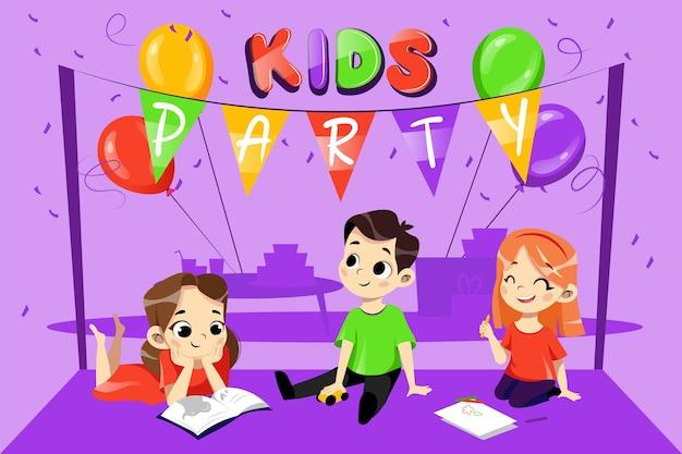 키즈 파티 초대 개념. 여러 가지 빛깔 된 풍선 및 장식 행복 젊은 웃는 아이들 놀고있다. 생일 파티 초대장