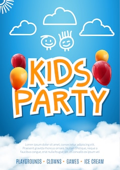 キッズパーティー招待状デザインポスターテンプレート。キッズ楽しいお祝いチラシ