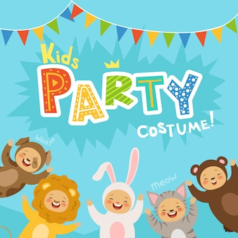 Kids party invitation with illustrations of happy children in carnival costumes of animals