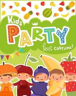 Kids party invitation with setof funny kids in fruit costumes