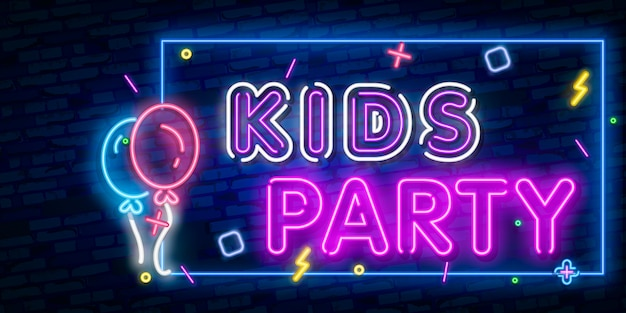 Kids party neon text. celebration advertisement design. night bright neon sign, colorful billboard, light banner.