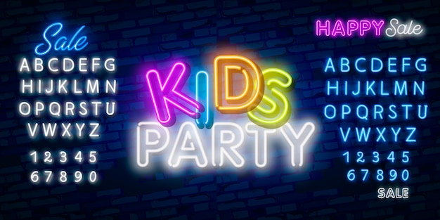 Kids party neon text. celebration advertisement design.