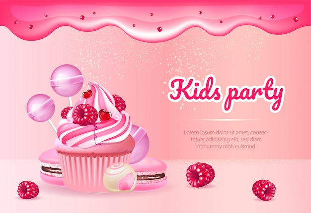 Kids party realistic product ads banner template