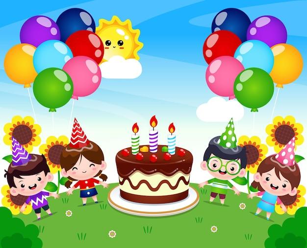 큰 생일 케이크와 함께 키즈 파티