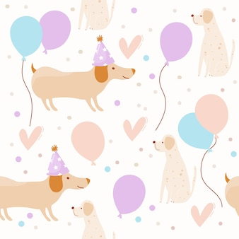 Kids pattern with birthday dogs