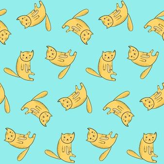귀여운 앉아 개요 오렌지 고양이와 아이 패턴