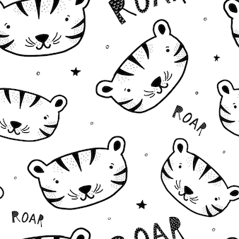Kids pattern with hand drawn tigers
