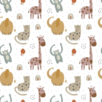 Kids pattern with various cute animals