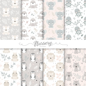 Kids patterns set with cartoon baby animals