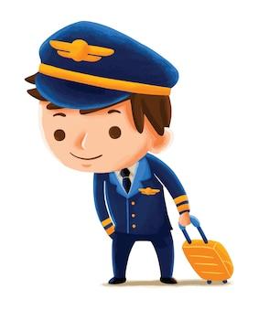 かわいいキャラクタースタイルのキッズパイロット