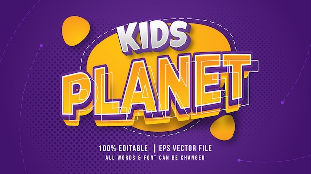 Kids planet playful 3d text style effect. editable coloful kid text illustrator text style.