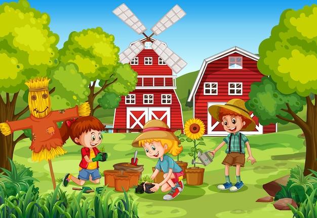 田舎の屋外エリアで植える子供たち