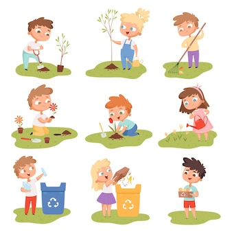 Kids planting. happy children gardening digging picking plants eco weather protect tree  set.