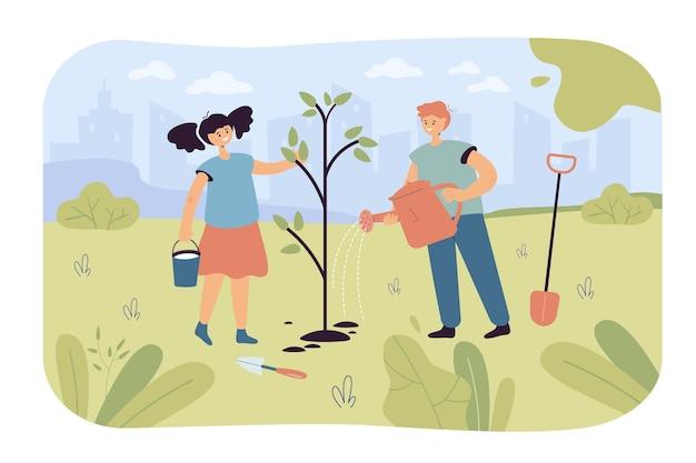 Bambini che piantano alberi in giardino o nel parco. personaggi dei cartoni animati felici che proteggono l'illustrazione piana dell'ambiente